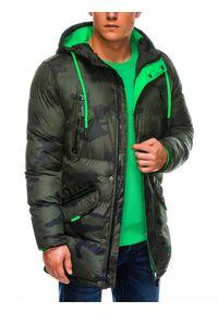Zielona kurtka Ombre Clothing na zimę, moro
