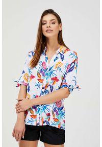 MOODO - Wzorzysta koszula z wiskozy. Materiał: wiskoza. Długość rękawa: krótki rękaw. Długość: krótkie