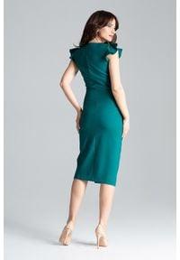 Lenitif - Koktajlowa sukienka midi z rozcięciem z przodu zielona. Okazja: na ślub cywilny, na wesele. Kolor: zielony. Materiał: tkanina. Długość rękawa: bez rękawów. Typ sukienki: ołówkowe. Styl: wizytowy. Długość: midi