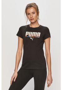 Czarna bluzka Puma casualowa, na co dzień, z nadrukiem