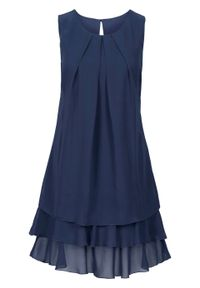Niebieska sukienka bonprix elegancka, bez rękawów