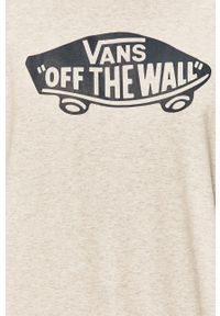 Szara koszulka z długim rękawem Vans casualowa, z nadrukiem