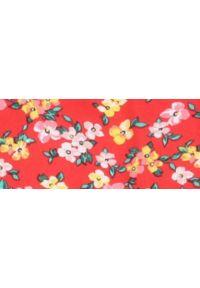 Czerwona bluzka TOP SECRET z krótkim rękawem, w kwiaty, na zimę, krótka