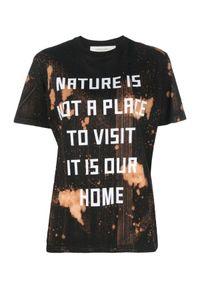GOLDEN GOOSE - T-shirt tie dye z napisami. Kolor: czarny. Materiał: bawełna. Wzór: napisy