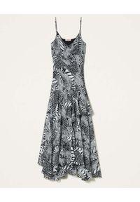TwinSet - TWINSET - Sukienka maxi ze zwierzęcym nadrukiem. Kolor: czarny. Długość rękawa: na ramiączkach. Wzór: motyw zwierzęcy, nadruk. Typ sukienki: asymetryczne. Długość: maxi