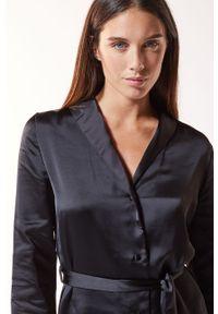 Czarna piżama Etam gładkie, długa