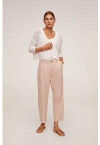 Różowe spodnie materiałowe mango z podwyższonym stanem