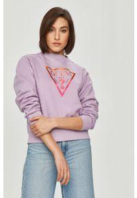 Fioletowa bluza Guess casualowa, z nadrukiem, na co dzień