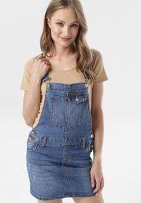 Born2be - Niebieska Ogrodniczka Therisa. Kolor: niebieski. Materiał: jeans. Wzór: aplikacja. Styl: sportowy