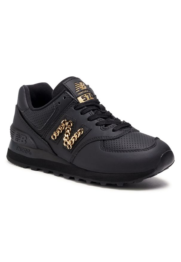 Czarne buty sportowe New Balance na co dzień, z aplikacjami, z cholewką