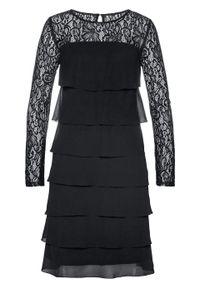 Czarna sukienka bonprix w koronkowe wzory, wizytowa