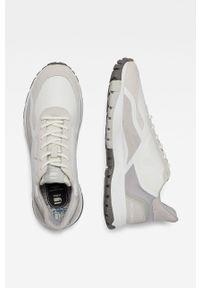 Beżowe sneakersy G-Star RAW z okrągłym noskiem, na sznurówki, z cholewką