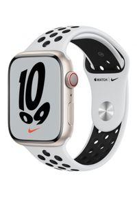 APPLE - Smartwatch Apple Watch Nike 7 GPS+Cellular 45mm aluminium, księżycowa poświata|platyna/czarny pasek sport. Rodzaj zegarka: smartwatch. Kolor: czarny. Styl: sportowy