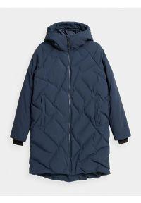 4f - Płaszcz puchowy pikowany damski. Okazja: na co dzień. Kolor: niebieski. Materiał: puch. Długość: długie. Wzór: gładki. Sezon: zima. Styl: casual