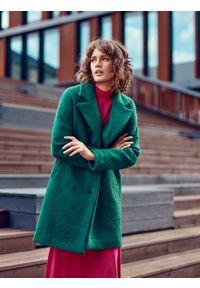 TOP SECRET - Wełniany dwurzędowy płaszcz. Kolor: zielony. Materiał: wełna
