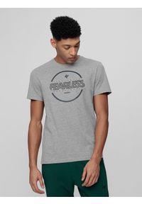 Szara koszulka sportowa 4f z nadrukiem