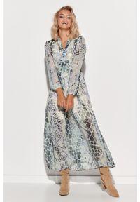 Makadamia - Wzorzysta Maxi Sukienka z Dekoracyjnym Dekoltem V - Szyfon 6. Materiał: szyfon. Wzór: kropki, kwiaty. Długość: maxi
