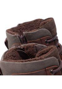 Brązowe buty zimowe Geox na co dzień, casualowe, z cholewką