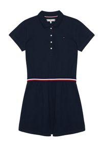 Niebieska sukienka TOMMY HILFIGER casualowa, polo, prosta, na co dzień
