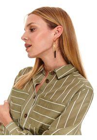 TOP SECRET - Damska koszula oversize w paski. Kolor: biały. Materiał: materiał. Długość rękawa: długi rękaw. Długość: długie. Wzór: paski. Sezon: jesień