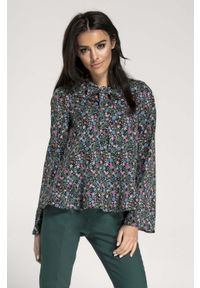 Czarna bluzka z długim rękawem Nommo w kwiaty