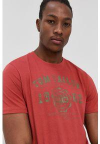 Tom Tailor - T-shirt bawełniany. Okazja: na co dzień. Kolor: czerwony. Materiał: bawełna. Wzór: nadruk. Styl: casual