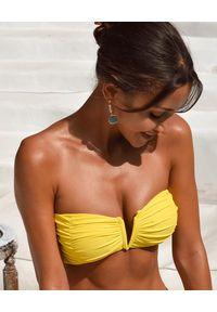 CAHA CAPO - Żółty top Aidy. Kolor: żółty. Materiał: materiał