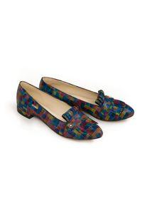 Zapato - kolorowe balerinki z frędzlami - skóra naturalna - model 046 - kolor kwadraty. Nosek buta: czworokąt. Zapięcie: bez zapięcia. Materiał: skóra. Wzór: kolorowy. Obcas: na obcasie. Styl: klasyczny. Wysokość obcasa: średni