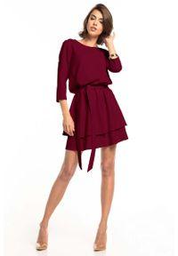 Tessita - Sukienka z Rozkloszowanym Podwójnym Dołem - Burgundowa. Kolor: czerwony. Materiał: poliester, elastan