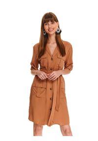 Brązowa sukienka TOP SECRET na jesień, casualowa, z krótkim rękawem