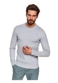TOP SECRET - Sweter z miękkiej dzianiny. Kolor: szary. Materiał: dzianina. Długość: długie. Wzór: gładki. Sezon: wiosna, lato. Styl: klasyczny