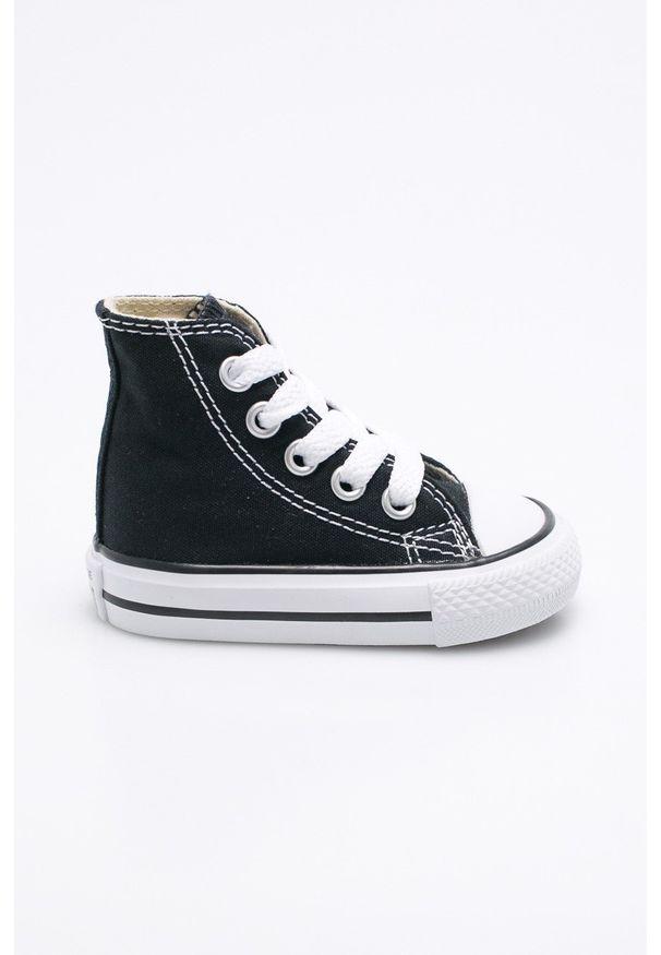 Czarne trampki Converse z cholewką, z okrągłym noskiem, na sznurówki