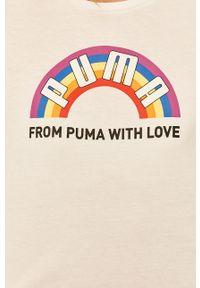 Biała bluzka Puma z okrągłym kołnierzem, casualowa