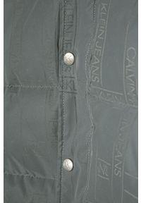 Szara kurtka Calvin Klein Jeans z kapturem, casualowa, na co dzień