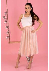 Merribel - Plisowana Tiulowa Midi Spódnica na Gumie -Różowa. Kolor: różowy. Materiał: tiul, guma
