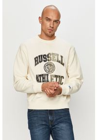 Kremowa bluza nierozpinana Russell Athletic na co dzień, bez kaptura, z nadrukiem, casualowa
