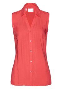 Czerwona bluzka bonprix krótka, z krótkim rękawem