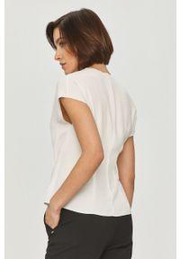 Biała bluzka Hugo na co dzień, z krótkim rękawem, krótka, gładkie
