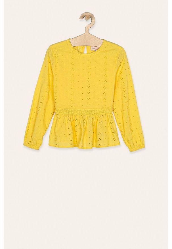Żółta bluzka Kids Only casualowa, długa, z okrągłym kołnierzem
