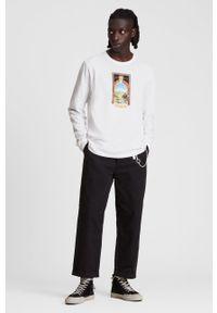 AllSaints - Longsleeve bawełniany. Okazja: na co dzień. Kolor: biały. Materiał: bawełna. Długość rękawa: długi rękaw. Wzór: nadruk. Styl: casual