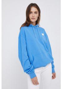 Wrangler - Bluza bawełniana. Kolor: niebieski. Materiał: bawełna. Długość rękawa: długi rękaw. Długość: długie. Wzór: nadruk