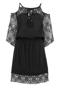Sukienka plażowa bonprix czarny. Okazja: na plażę. Kolor: czarny