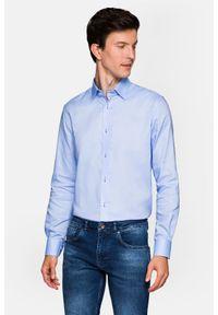 Lancerto - Koszula Niebieska Maia 7. Kolor: niebieski. Materiał: bawełna, jeans, tkanina, wełna. Wzór: ze splotem