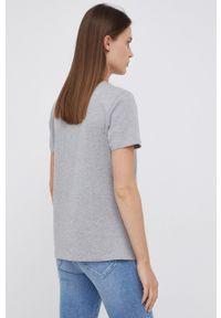 TOMMY HILFIGER - Tommy Hilfiger - T-shirt bawełniany. Okazja: na co dzień. Kolor: szary. Materiał: bawełna. Wzór: aplikacja. Styl: casual