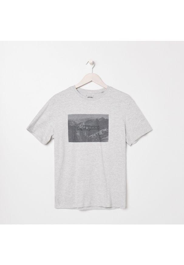 Szary t-shirt Sinsay