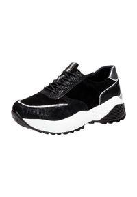 Czarne buty sportowe Vinceza na koturnie, na średnim obcasie