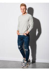Ombre Clothing - Bluza męska bez kaptura B1156 - jasnoszara - XXL. Typ kołnierza: bez kaptura. Kolor: szary. Materiał: dresówka, bawełna, jeans, dzianina, poliester