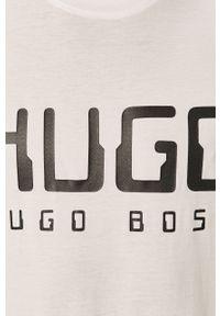 Biały t-shirt Hugo z nadrukiem, z okrągłym kołnierzem