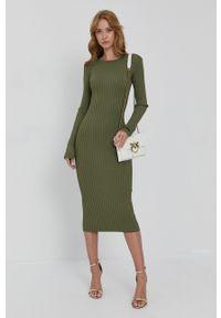 Guess - Sukienka. Kolor: zielony. Materiał: tkanina, dzianina. Długość rękawa: długi rękaw. Wzór: gładki. Typ sukienki: dopasowane