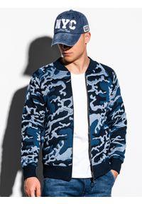 Ombre Clothing - Bluza męska bez kaptura bomberka B1028 - niebieska/moro - L. Typ kołnierza: bez kaptura. Kolor: niebieski. Materiał: poliester, bawełna. Wzór: moro